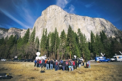 Spectators watching the climbing unfold on The Dawn Wall in Yosemite Valley, January 2015.