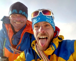 Marek Holeček and Zdeněk Hák on the summit of Kyajo Ri in Nepal during the first ascent of their  making the first ascent of Lapse of Reason (25-28/05/2018)