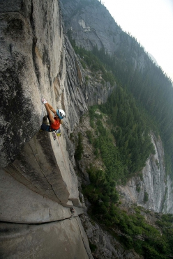 Brette Harrington and Caro North making the first ascent of Crouching Tiger, Chinese Puzzle Wall, Canada