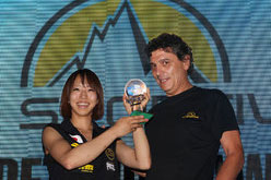Akiyo Noguchi and the President of La Sportiva Lorenzo Delladio