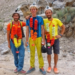 Aleš Česen, Tom Livingstone and Luka Stražar after their ascent of Latok I