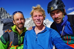 Luka Stražar, Tom Livingstone and Aleš Česen after their successful ascent of Latok I, August 2018