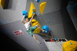 Jakob Schubert climbing to Lead victory at the IFSC World Championships 2018 in Innsbruck