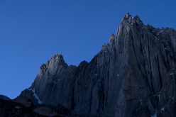 Thagas Valley, Karakorum: stars and lights on Pathan peak