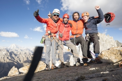 Mathieu Maynadier, Nicolas Favresse, Carlitos Molina and Jean-Louis Wertz on the summit of Pathan peak, Thagas Valley, Karakorum
