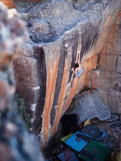 Giuliano Cameroni making the first ascent of The Smile at Rocklands