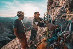 Nicola Tondini and Lorenzo d'Addario making the first one push free ascent of 'Non abbiate paura... di sognare', Cima Scotoni, Dolomites
