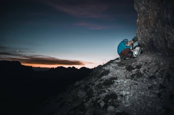 Nicola Tondini and Lorenzo d'Addario at the bivy on the ledge making the first one push free ascent of 'Non abbiate paura... di sognare', Cima Scotoni, Dolomites