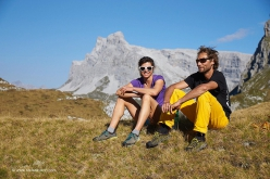 Nina Caprez in the Rätikon with Jonathan Crison after her repeat of Headless Children