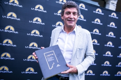 Lorenzo Delladio of La Sportiva with the award-winning book 'La Sportiva 90th, a history of alpinism, passion, innovation'