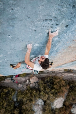 Stefano Carnati climbing Biographie at Céüse, France, on 21/09/2018. This 60-move stamin test was first climbed in 2001 by Chris Sharma and is recognised as the world's benchmark 9a+
