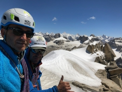 Maurizio Giordani and Massimo Faletti on the summit of Kiris Peak after having made the first ascent of Water World