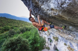 Eric Albertini climbing Pure Dreaming at Massone, Arco, the 9a freed by Adam Ondra in February 2018