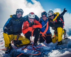 Much Mayr, Max Berger, Guido Unterwurzacher and Hansjörg Auer on the summit of a previously unclimbed 6050m mountain in the Indian Himalaya on 5/10/2018