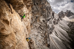 Simon Gietl making the first ascent, solo, of Can you hear me?, Cima Scotoni, Dolomites, in memory of Gerhard Fiegl.