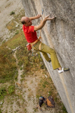 Cédric Lachat making the first repeat of La Cène du Roi Lézard, a 9a+ freed in 2017 by Pirmin Bertle at Jansegg in Switzerland