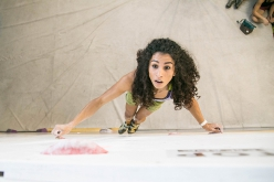 Egyptian climber Wafaa Amer competing in the Italian Boulder Championship 2018
