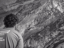 Adam Ondra belaying Stefano Ghisolfi on Armageddon at Massone during the Arco Champions Challenge