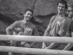 Stefano Ghisolfi, Adam Ondra and mc Simone Raina at the Arco Champions Challenge