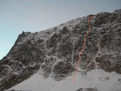 Spirito libero, 600m IV-4-M4, aperta da Ezio Marlier in solitaria il   18-19/11/2006 sul Monte Emilius (Valle d'Aosta).