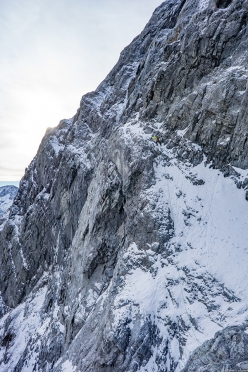 Ortler NE Face: Daniel Ladurner, Hannes Lemayr, Aaron Durogati climbing their probable new route on 18/10/2018