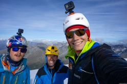 Aaron Durogati, Hannes Lemayr and Daniel Ladurner having climbed the NE Face of Ortler on 18/10/2018