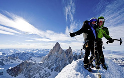 Stephan Siegrist & Dani Arnold on the summit of Torre Egger, Patagonia