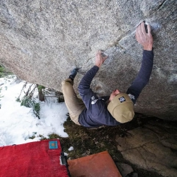 Daniel Woods making the first ascent of Box Therapy 8C+ in Rocky Mountain National Park, USA.