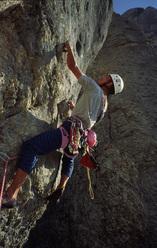40 anni rifugio Falier, Marmolada, Dolomiti. Dino Kuran nel 1983 sul quinto tiro.
