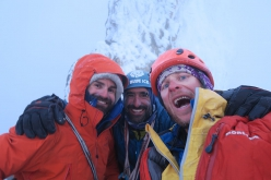 Francois Poncet, Martin Elias and Jerome Sullivan on the summit of El Faro, Patagonia