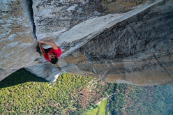 Alex Honnold climbing free solo Freerider, El Capitan, Yosemite, USA on 3 June 2017. In doing so he has become the first person to climb El Cap without ropes