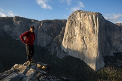 Alex Honnold standing in front of El Capitan, Yosemite, USA where, on 3 June 2017, he carried out the monumental free solo of Freerider