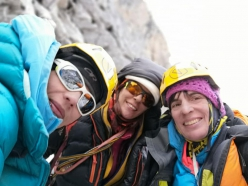 Ixchel Foord, Cecilia Buil and Anna Torretta climbing Mugu Peaks (5467 m) in Nepal