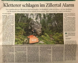 National newspaper cutting featuring the risk of closure in Zillertal's Zillergrund Wald. Local climber Gerhard Hörhager explained eloquently 'Boulders like these don't just spring up like mushrooms'