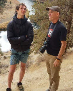 Adam Ondra with Alan Watts at Smith Rock, USA