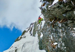 Vittorio Messini making the first ascent of Sintflut up Mt Prijakt in Austria with Simon Gietl
