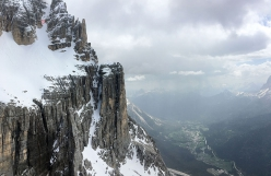 Croda Marcora (Sorapis), Dolomites: the probable first ski descent carried out on 07/05/2018 by Francesco Vascellari, Marco Gasperin, Loris De Barba and Tiziano Canal