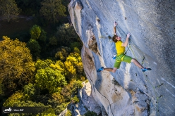 Sébastien Bouin repeating Agincourt at Buoux, France's historic first 8c climbed in 1989 by Ben Moon