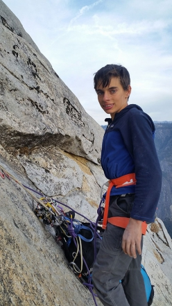 15-year-old American climber Connor Herson during his free ascent of The Nose, El Capitan, Yosemite