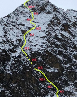 Wechnerwand north face, Stubai Alps, and the line of Plan W (400m, M5+, Philipp Brugger, Martin Sieberer, 11/2018)