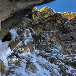 Jess Roskelley making the first ascent of the Central Couloir up A Peak, Cabinet Mountains, USA, climbed over 4 days in November 2018 with and Scott Coldiron