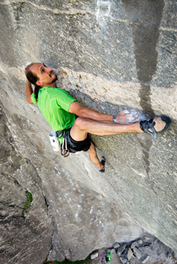 Simone Pedeferri making the first ascent of Quello che non c'è 8c+, Sasso Remenno, Val Masino