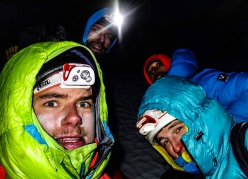 Antonin Cecchini, Laurent Thévenot, Aurélien Vaissière, Symon Welfringer on the summit of Lobuche East, Khumbu, Nepal on 23 October 2018 after having established Le Quattro à Cordes