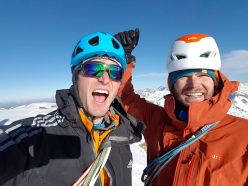 Matthias Wurzer and Peter Wurzer on 17/11/2018 on the summit of Kristallwand after having made the first ascent of Russisches Roulette