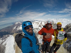 Federico Martinelli, Federico Secchi and Michele Colturi on the summit of Fitz Roy in Patagonia after having climbed Supercanaleta (11/2018)