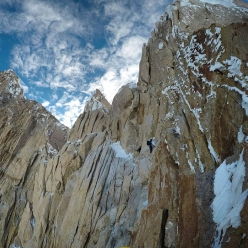 Supercanaleta Fitz Roy: Federico Martinelli on the upper section of the route, climbed with Michele Colturi and Federico Secchi (11/2018)
