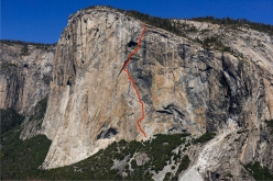 The line of North America Wall on El Capitan, Yosemite. First ascended in 1964 by four of the most influential climbers of valley's Golden Age, Yvon Chouinard, Tom Frost, Chuck Pratt and Royal Robbins, the NA wall represented another important step forward in terms of ethics and style