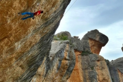 Stefano Ghisolfi climbing Perfecto Mundo, the 9b+ at Margalef, Spain, bolted by Chris Sharma and freed by Alexander Megos