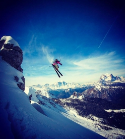 Aldo Valmassoi skiing in the Dolomites