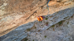 Marco Ghidini climbing the lower section of Born to be Wild up Monte Casale Primo Pilastro, , Valle del Sarca